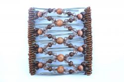 Brown and clear Beaded Original One Clip  - 9 prongs, approx 10cm