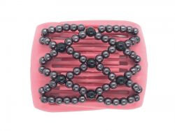 Ladybug hair clip on small pink interlocking combs