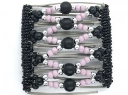 Pretty Black Pink and Silver Beaded Original One Clip  - 9 prongs