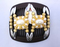 Diamante African Butterfly hair clip on brown comb