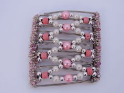 Pink Beaded Original One Clip  - 9 prongs, approx 10cm