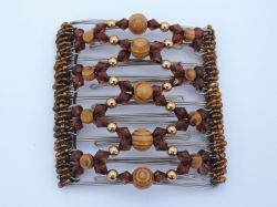 Brown and Wooden Beaded Original One Clip  - 9 prongs, approx 10cm