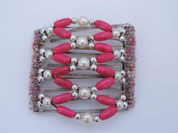 Pink and Pearl Beaded Original One Hair Clip  - 9 prongs, approx 10cm