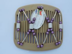 11cm African Butterfly hair clip on blonde comb with purple beads