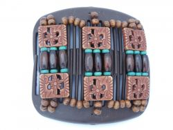 11cm African Butterfly hair clip on brown comb | Brown Beads with a hint ot Turquoise