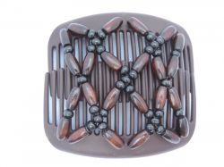 11cm African Butterfly hair clip on brown comb with brown and black wooden beads