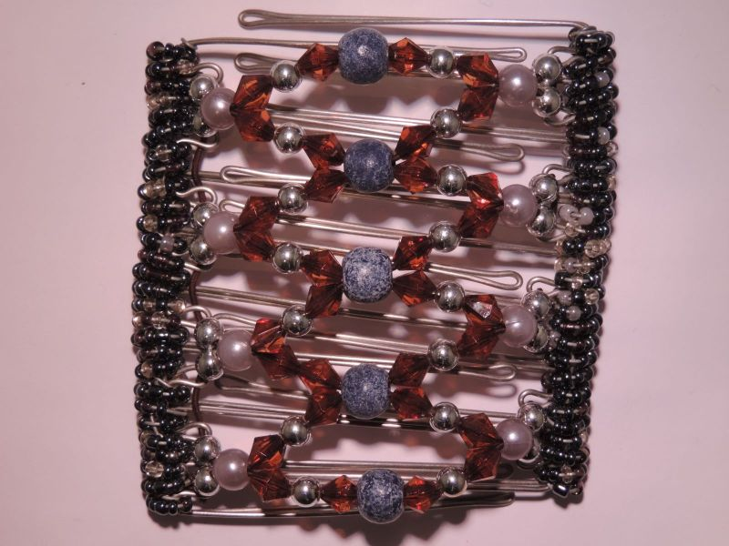Grey and Red Beaded Original One Clip  - 9 prongs
