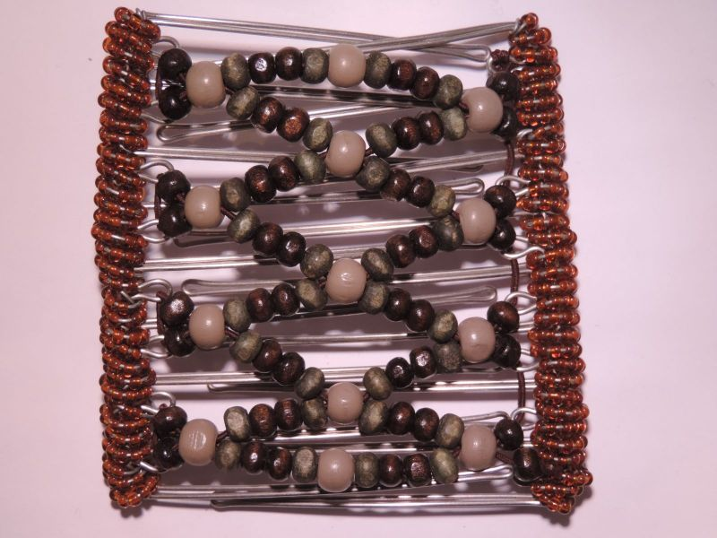 Pretty Brown and Grey  Beaded Original One Clip  - 9 prongs