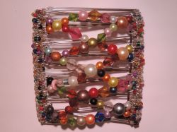 Multi Coloured  Butterfly Hair Clip  - 9 prongs | Beads will vary from photo