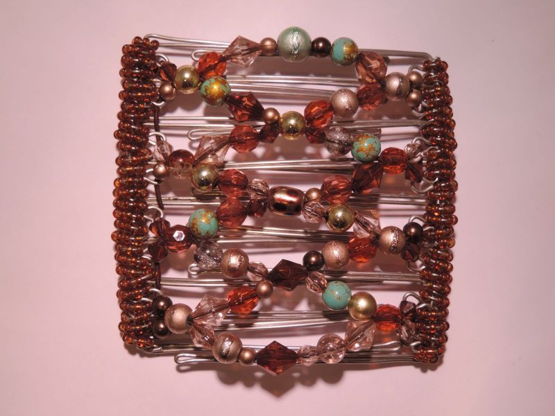 Multicoloured Beaded Original One Clip  - 9 prongs, approx 10cm