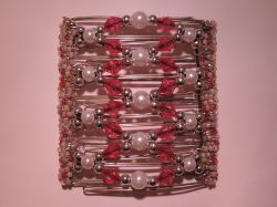 Pink and Pearl  Beaded Original One Clip  - 9 prongs, approx 10cm