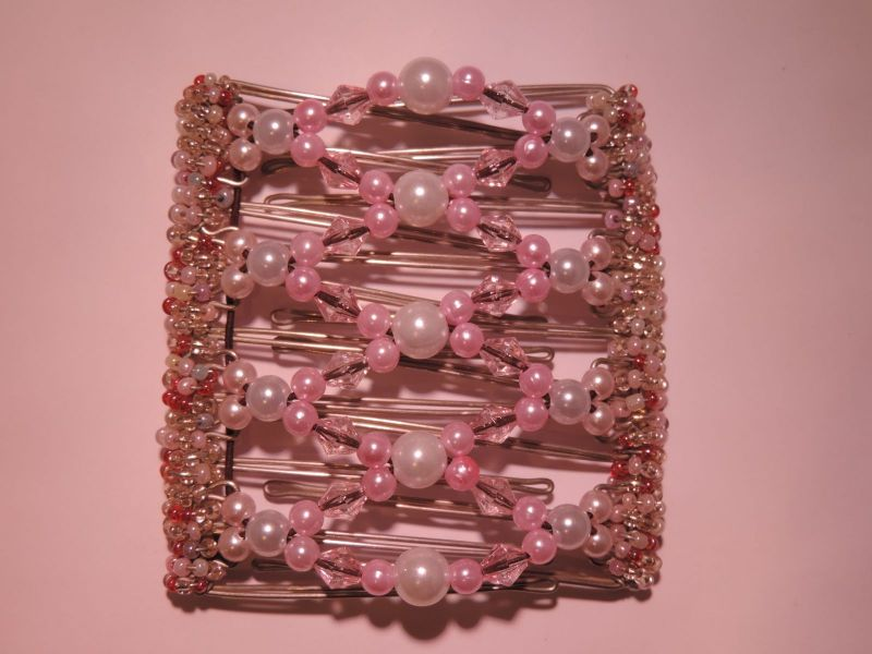 Pink and Pearl Hair Clip  - 9 prongs, approx 10cm