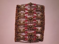 Large One Clip 11.5 cm - will hold any amount of hair!  Pretty Pink & Gold Beads