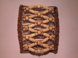 Cream Wooden Beaded One Clip 11 Prong - Our Largest Hair Clip for Lots of Hair