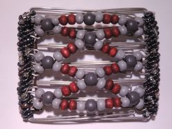 Grey and Red Medium Hair Clip 7 Prongs