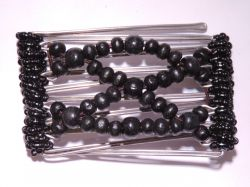 One Clip small - 5 prongs with Black  beads