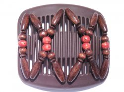 African Butterfly hair clip on brown interlocking combs with brown and beads
