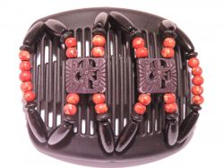 11cm African Butterfly hair clip on black comb with Red Beads
