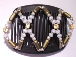 11cm African Butterfly hair clip on black comb with pretty green and white beads