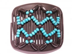 11cm African Butterfly hair clip on black comb with Turquoise Beads