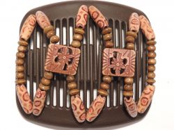 11cm African Butterfly hair clip on brown comb with pretty African Beads