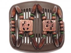 11cm African Butterfly hair clip on brown comb with pretty African beads and a hint of green