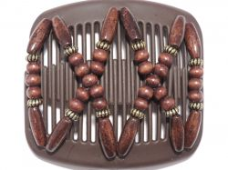 11cm African Butterfly hair clip on brown comb | Brown Beads with a hint of Gold