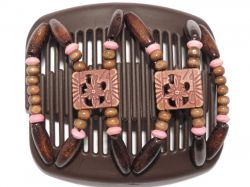 11cm African Butterfly hair clip on brown comb | Brown Beads with a hint of Pink