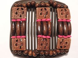 African Butterfly Hair Clip on Brown Interlocking Combs with a hint of Fuschia