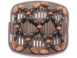 11cm African Butterfly hair clip on brown comb with brown and black beads