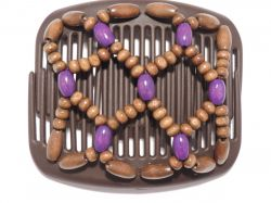 African Butterfly Hair Clip on Brown Interlocking Combs with purple beads