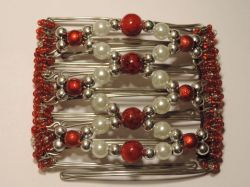 Pearl Silver  and Red One Clip medium - 7 prongs