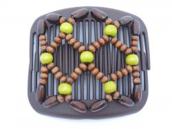 African Butterfly hair clip on brown interlocking combs with brown and lime green beads