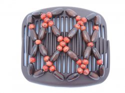 African Butterfly Hair Clip on Brown Interlocking Combs | Pretty red beads