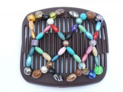 African Butterfly hair clip on brown comb | Pretty Multicoloured Beads