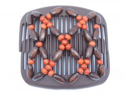 11cm African Butterfly hair clip on brown interlocking combs | Brown and Orange Beads