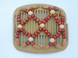 11cm African Butterfly hair clip on blonde comb with pretty red beads
