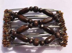 One Clip Small - 5 prongs with Brown wooden beads