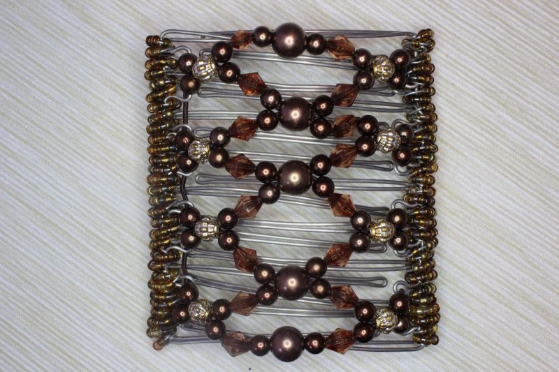 Brown Beaded Original One Clip  - 9 prongs, approx 10cm