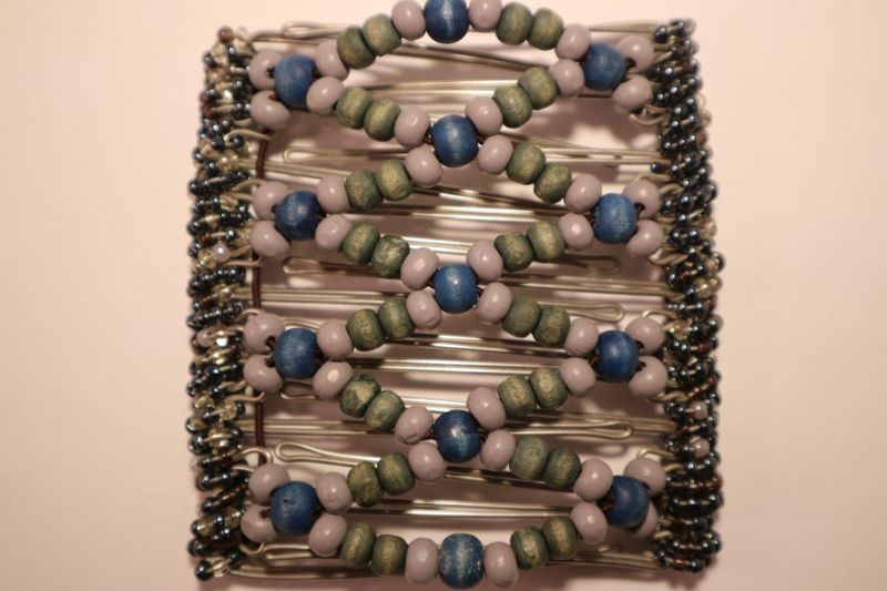 Blue and Green Fair Trade Hair Clip  - 9 prongs