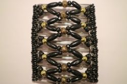 Black and Gold Beaded Butterfly Hair Clip Large - 11 prongs
