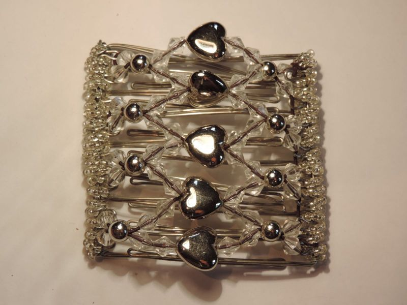 Pretty Silver Hearts Original One Clip  - 9 prongs, approx 10cm