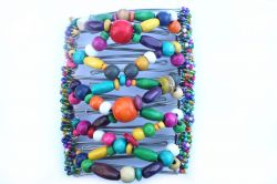 Multi Coloured Wooden Beaded One Clip 11.5 cm - the best hair clip for lots of hair!