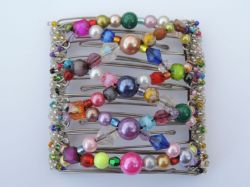 Multicoloured & Pearl Original One Clip  - 9 prongs, approx 10cm