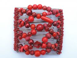 Red Beaded Original One Clip  - 9 prongs, approx 10cm