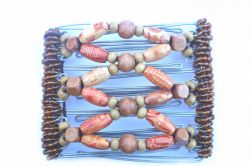 Pretty Wooden Beaded One Clip medium - 7 prongs, approx 7cm