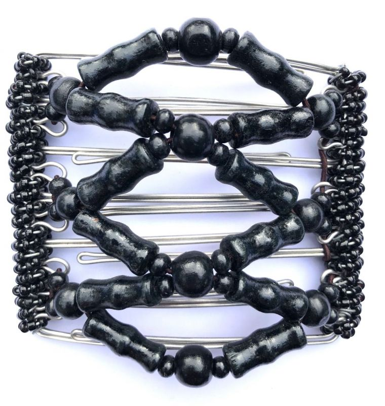 Black Beaded One Clip medium - 7 prongs, approx 7cm
