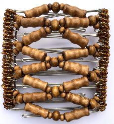 Wooden Beaded Original One Clip  - 9 prongs, approx 10cm