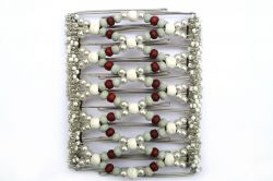 White with hints of grey and maroon Beaded One Clip Large - 11 prongs, for masses of Hair!!