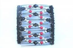 Black and Red Beaded Original One Clip  - 9 prongs, approx 10cm